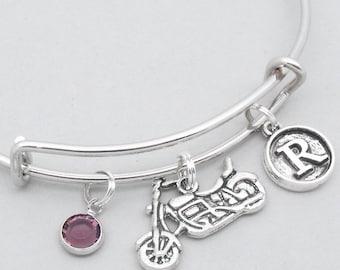 Motorbike vintage style initial charm bracelet | motorbike jewelry | motorbike bangle | personalised motorbike gift | motorcycle