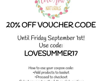 Voucher Code For 20% OFF Until September 1st 2017!