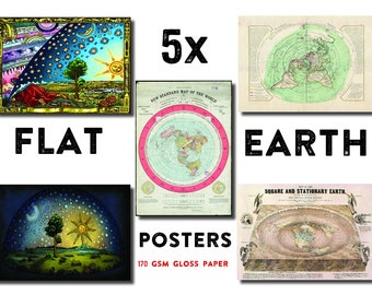 5 x Flat Earth Maps and Posters -Collection 1: Gleason, Orlando Ferguson, Neuville, Flammarion and Under the Dome