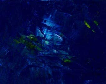 Abstract Original Acrylic Painting Inside the Ocean Floor Multi-Color