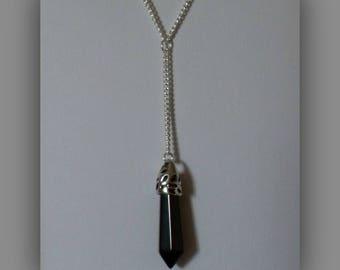 Black Onyx Necklace,Onyx Necklace,Black Crystal Necklace Pendant,Black Onyx Jewelry,Black Crystal Jewelry,Black Onyx Lariat Y Necklace