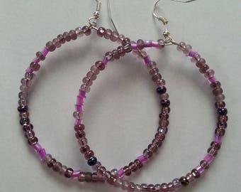 Purple Multi Colored Glass Bead Hoop Earrings