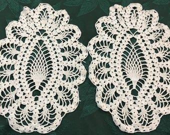 Lot of 2 Vintage Hand Crochet Doilies 13 x 9  D52