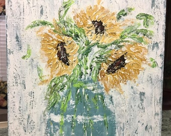 Original Abstract Sunflowers in Vase  Painting