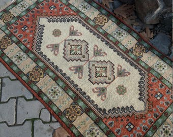 "Oushak Rug,Vintage Turkish Rug, Home office decor,Vintage carpet,home living,2'8×5'3""feet, Floor rug, Area rug, desing rug, Anatolian rugs"