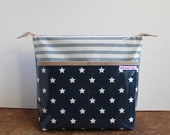 oilcloth cosmetic bag big, travel toiletry bag, make up, diaper bag, blue stars, washable ***