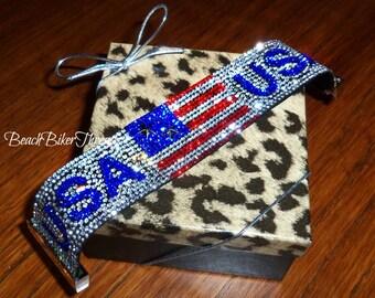 Patriotic Red Clear Blue Rhinestone AMERICAN FLAG USA Magnetic Bling Bracelet Biker Cuff