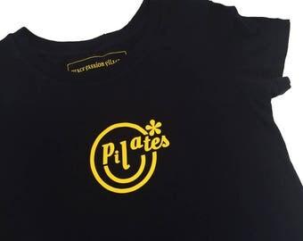 Pilates T-Shirt, Pilates Cotton Tee, Pilates Cotton T-Shirt, Pilates Top, Pilates Clothes, Pilates Gift, Yoga Barre Clothes, Smiley Face Tee