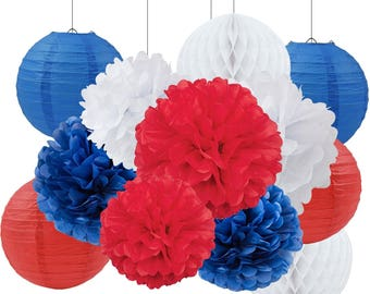 Set of 12 Mixed Royal Blue Red White DIY Tissue Paper Pom Poms Flower Ball Wedding Birthday July 4th Patriotic Party Decoration
