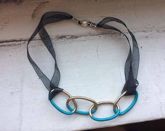 Teal Dipped Painted Brass Chain Necklace -- Recycled Hardware Collection