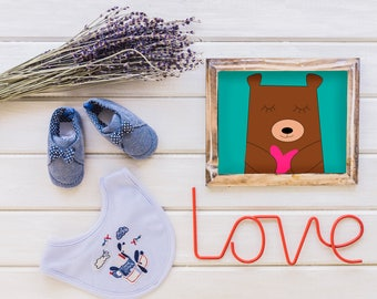 Wall Art Prints, Home Decor, Printable Art, Kids Gift Ideas, Nursery Art Print, Home Art, Kids Wall Art, Kids Nursery - Cute bear teal heart