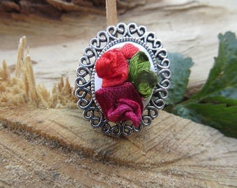 FREE SHIPPING Needlepoint jewelry Silver red flower ring Large ring with roses Fabric rose ring Large oval ring Vintage red ring with flower