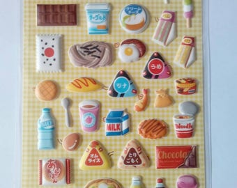 Kawaii japanese food puffy stickers