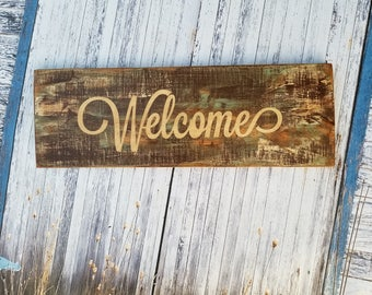 Distressed, Rustic Wood Sign, Welcome, Shabby Chic, Home Decor, Reclaimed Wood, Tan Brown, Teal