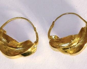 Medium Fula Gold Twist Earrings