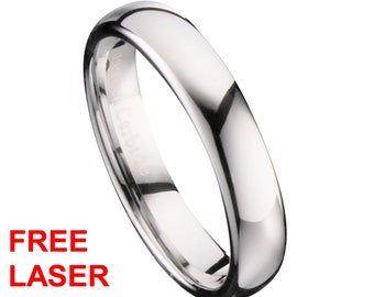 4mm Mirror Polished Comfort Fit Ring Tungsten Carbide Wedding Band Free Inside Laser Engraving