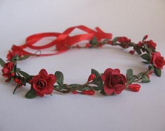 Simple red wedding flower crown Small bridal floral crown Red rose paper crown Simple hair wreath Flower girl crown Bridesmaid crown