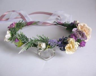 Wedding head crown Purple beige hair crown Flowergirl headpiece Violet flower crown for bridesmaid Purple bridal crown Floral head wreath