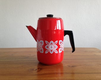 Coffee pot / teapot glazed red - snowflakes - cottage - winter - Christmas - Vintage