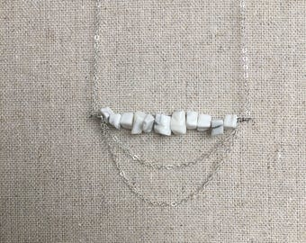 Howlite Stone 14kt Gold Filled // or Sterling Silver Necklace