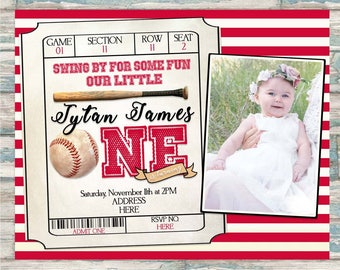 Baseball Themed Birthday Invitation - First Birthday Party - Our Little Batter Party