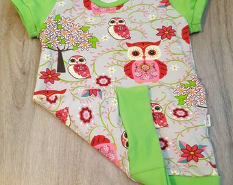READY to ship, tunic scalable owls, baby grow with me