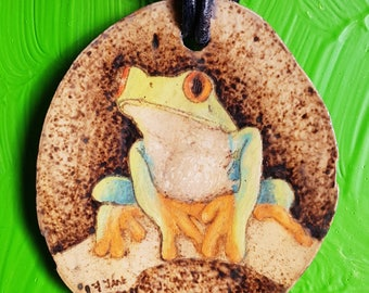 Handmade frog wooden pyrographic colored necklace