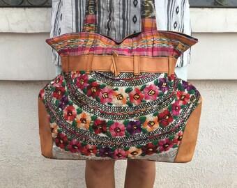 Purse, bag, large purse, handbag, leather, colorful, Guatemalan huipil corte