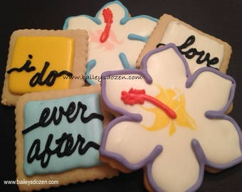 Destination wedding favors | Tropical flower cookies | Bridal favors | I Do | Engagement | Save the date | Wedding dessert table