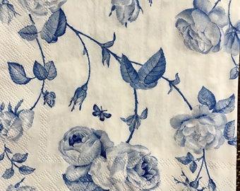 Decoupage Napkins x4, Paper Napkins for Decoupage Scrapbooking Collage Craft Blue Roses Flowers Vines 562