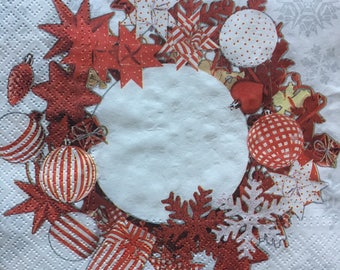 Decoupage Napkins x4, Paper Napkins for Decoupage Craft Collage Christmas Wreath Ornaments Winter 780