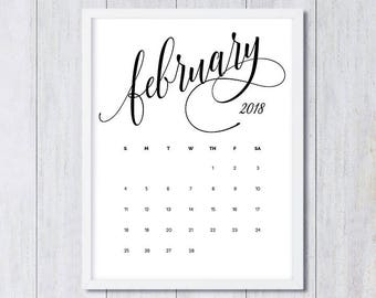 February 2018 printable pregnancy announcement calendar social media flat lay photo prop due date save the date digital file download