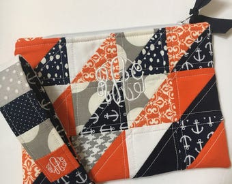 Auburn* Quilted Zipper Bag and Key Chain Wristlet