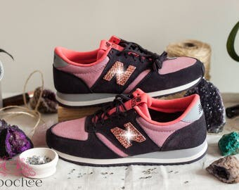 New Balance 420 - Women's Shoes with Rose Peach Swarovski Crystals