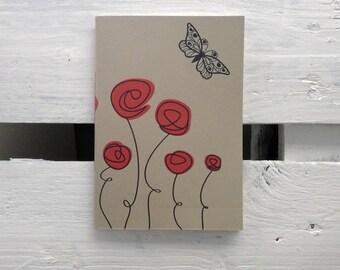 "Notebook 7Nodi ""Poppies"" line wings."