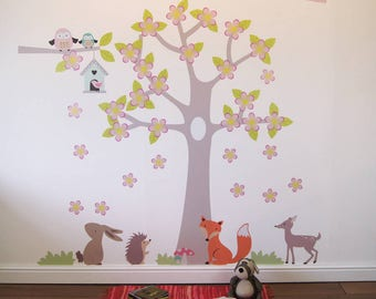 Summer Blossom Tree with Animals Wall Stickers