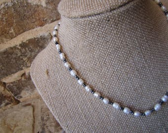 beaded pearl and gray choker