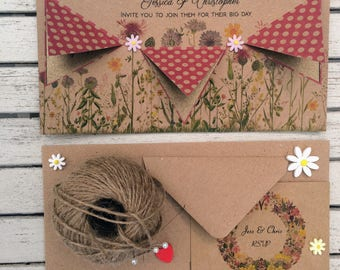 Vintage Wedding Invitation & RSVP card - Sample card in Fuchia