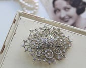 Art deco Crystal Brooch Wedding Brooch Bridal dress brooch Rhinestone brooch Bouquet brooch Vintage style brooch