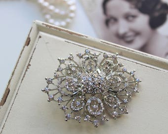 Art deco Crystal Brooch, Wedding Brooch, Bridal dress brooch, Rhinestone brooch, Bouquet brooch, Vintage style brooch