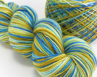 Hand Dyed Sparkling Silver Sock Yarn Blue Mustard handdyed hand-dyed