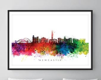Newcastle England Skyline, Cityscape Art Print, Wall Art, Watercolor, Watercolour Art Decor