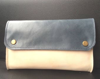 Clutch wallet, 2 leather wallet, Navy Blue and ecru.