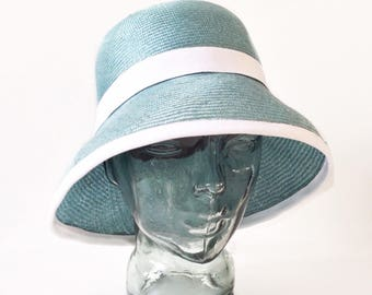 Cloche straw hat parasisal for woman, green, hat for the beach and the city elegance clohe hat measure 57 (USA 7 1/8 UK 7)