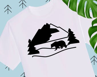 Mountain svg Bear svg Adventure svg Tree svg mountains camping svg files for Cricut Silhouette dxf svg cutting file svg files travel svg dxf