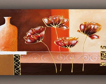abstract painting, acrylic painting, flower painting, painting on canvas
