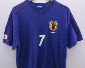 Vintage 1996 JFA Nakata Shirt Big Spell Out Japan Football Association Sportswear Street Wear Top Tee T-Shirt Size M