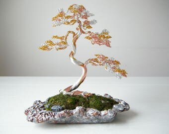 Wire Sculpture, 3-color Informal upright wire bonsai tree