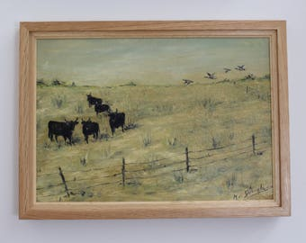 Grazing Bulls in the Camargue by M. Arvanitakis (c. 1950s)