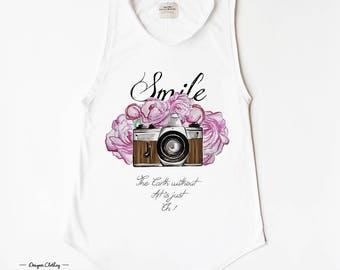 CAMERA SMILE - White Cotton TOP by LovelyBones Clothing